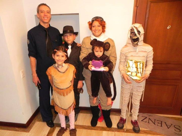 "Све ages: Elena Ynostroza Saenz writes that one child wanted a scary costume so he went as a mummy as part of the ""Night at the Museum 2"" theme. ""This was SO much fun to put together!"" she writes."