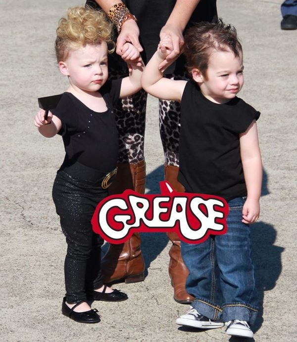 "ти're the one that I want! Natasha McAdoo's twins rock some serious '50s style as Danny and Sandy from ""Grease."""