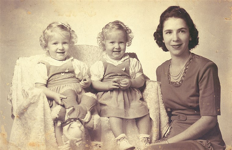 Ann Williams with her twin daughters Marcy and Kappy in an image from the 1940s.