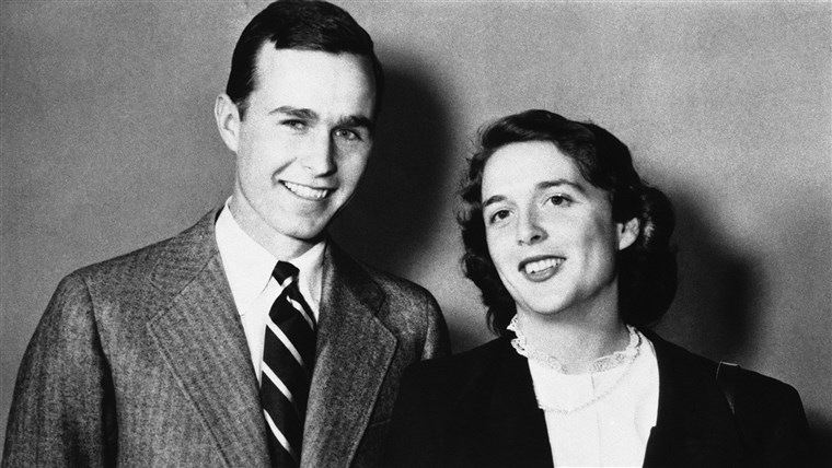 George Bush is shown with wife Barbara in 1945.