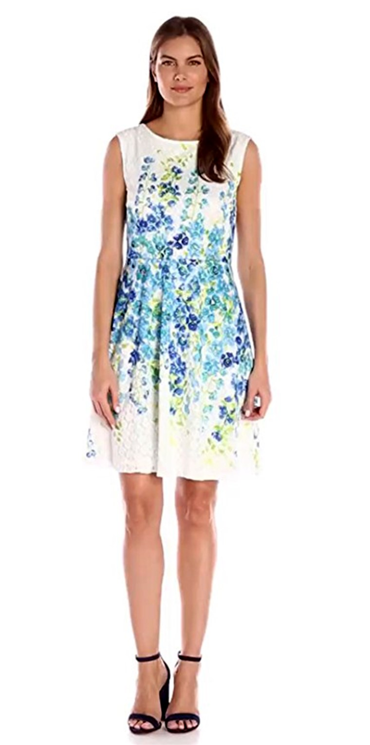 Sandra Darren Women's 1 Pc Extended Shoulder Printed Lace Fit & Flare Dress