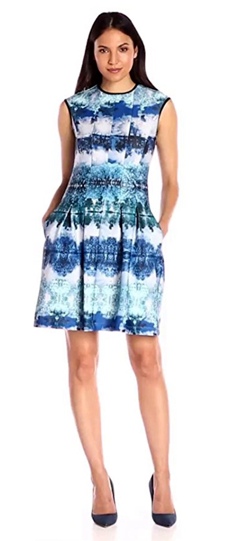 Gabby Skye Women's Nature Print Fit and Flare Dress