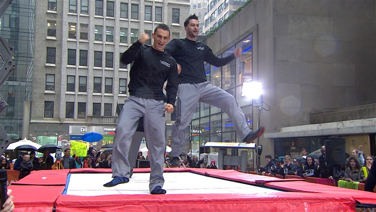 De brothers celebrated their new world record on the plaza.
