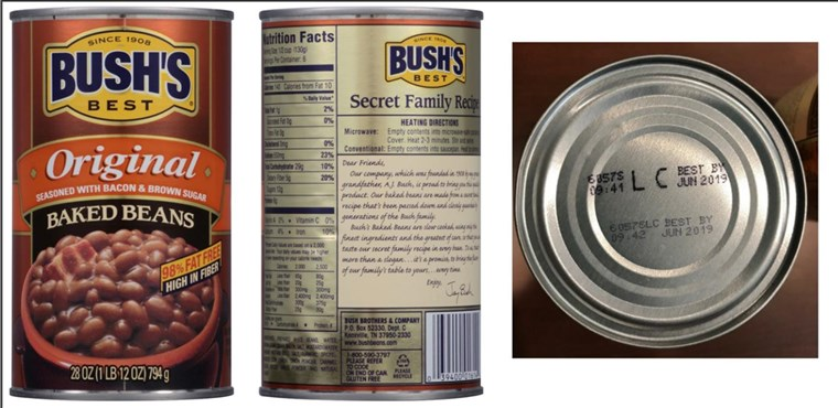 [Iulie 22, 2017]: BUSH'S(R) BEST ORIGINAL BAKED BEANS Voluntary Recall - 28 ounce with UPC of 0 39400;01614 4 and Lot Codes 6057S LC and 6057P LC with the Best By date of Jun 2019