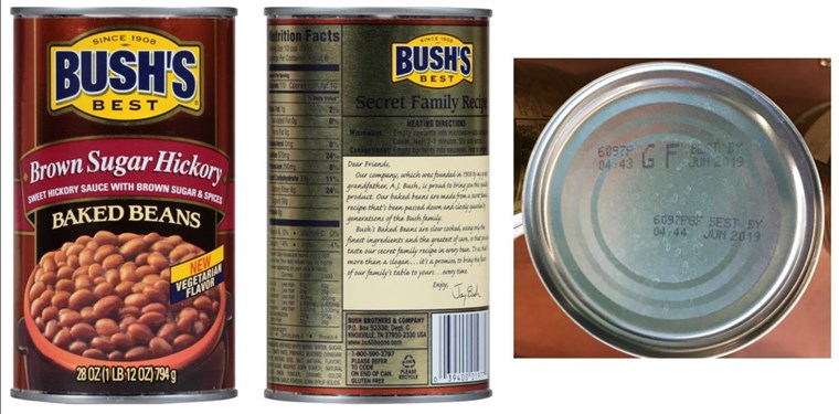 [Iulie 22, 2017]: BUSH'S(R) BEST BROWN SUGAR HICKORY BAKED BEANS Voluntary Recall - 28 ounce withUPC of 0 39400 01977 0 and Lot Codes 6097S GF and 6097P GF with Best By date of Jun 20