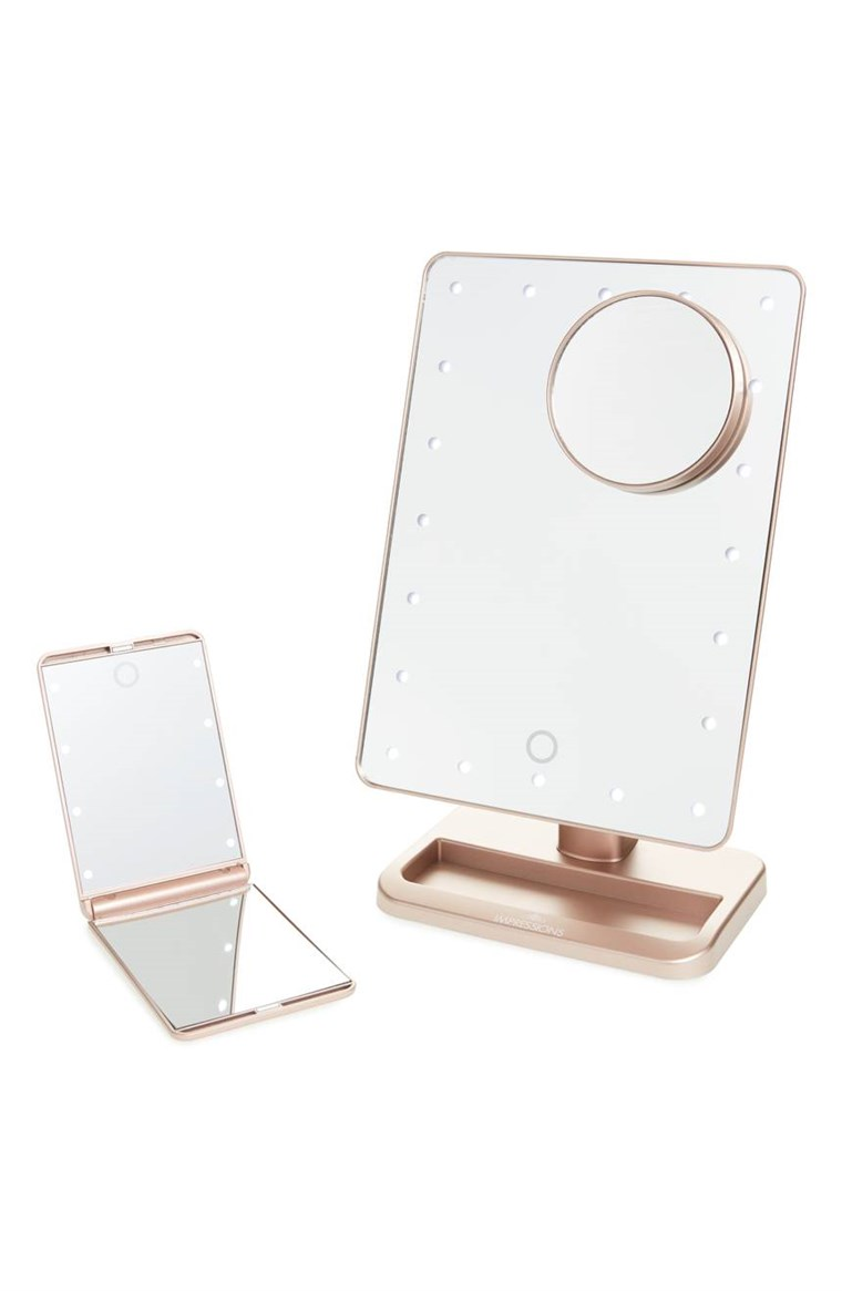 Afișări Vanity Co. Touch XL Dimmable LED Makeup Mirror with Removable 5x Mirror & Compact Mirror