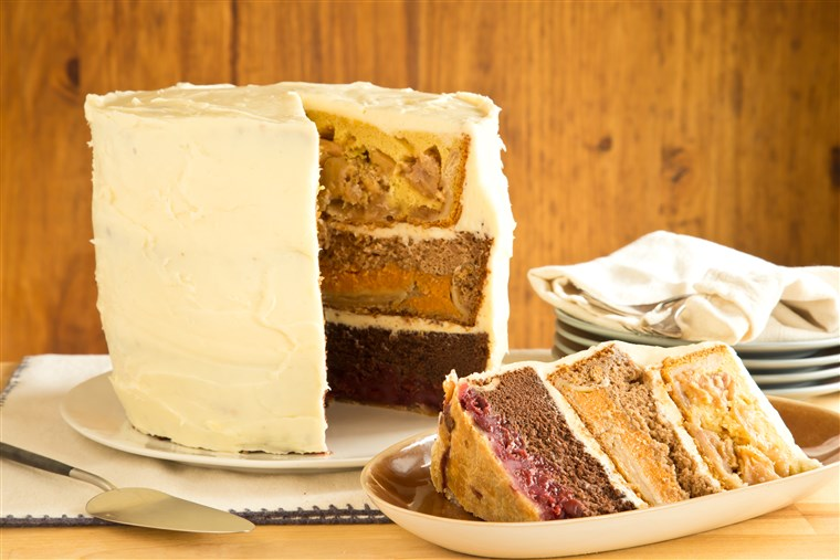 De Cherpumple is a towering six-layer dessert made with cherry pie, pumpkin pie, apple pie, chocolate cake, yellow cake and spice cake