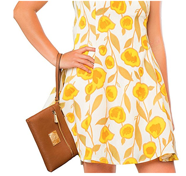 Жута flower dress with tan purse
