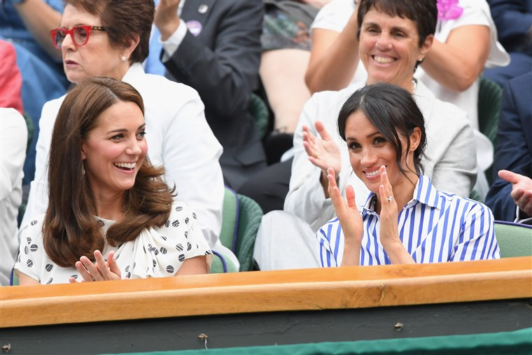 Catherine Duchess of Cambridge and Meghan Duchess of Sussex at Wimbledon 2018