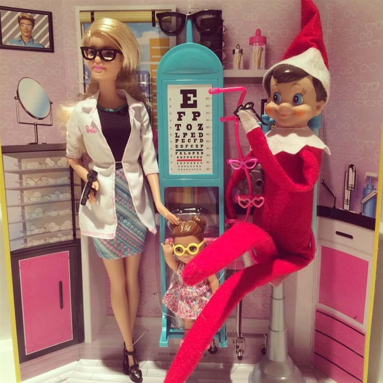 Тхе Elf gets an eye exam...from Barbie!