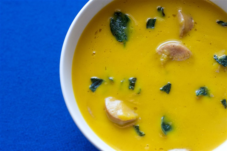 Butternut soup with sage and sausage