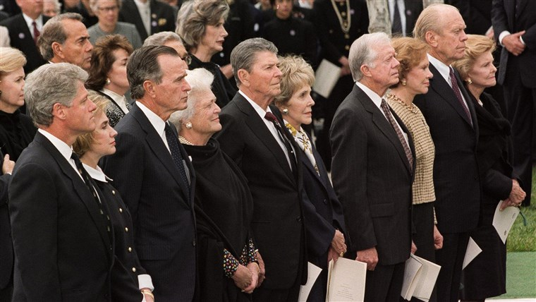 Foto of former U.S. presidents at Richard Nixon's funeral