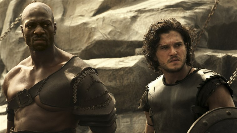 Аттицус (Adewele Akinnouye-Agbaje) and Milo (Kit Harington) in