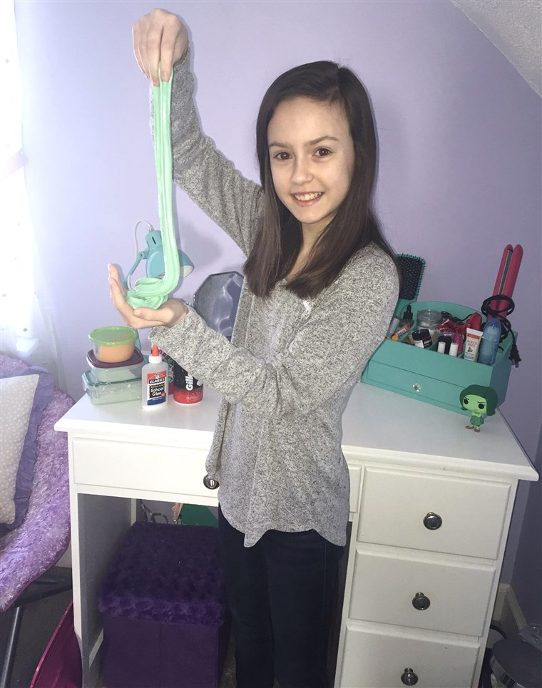 Katherine LaDuke, 12, makes slime for her friends. Her mom can barely keep up with her supply needs, though.