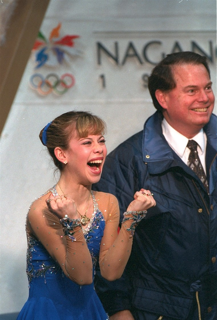 20 Feb 1998: Tara Lipinski of the USA reacts as her scores are posted during the free skate competition at White Ring Arena during the 1998 Winter ...