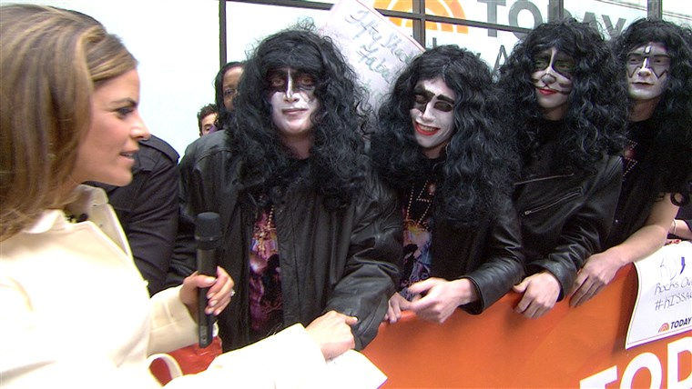 fyra high school students from Montgomery, N.Y., who were sent home from a school function for dressing like the members of KISS, talked with Natalie Morales before meeting their idols on Friday.
