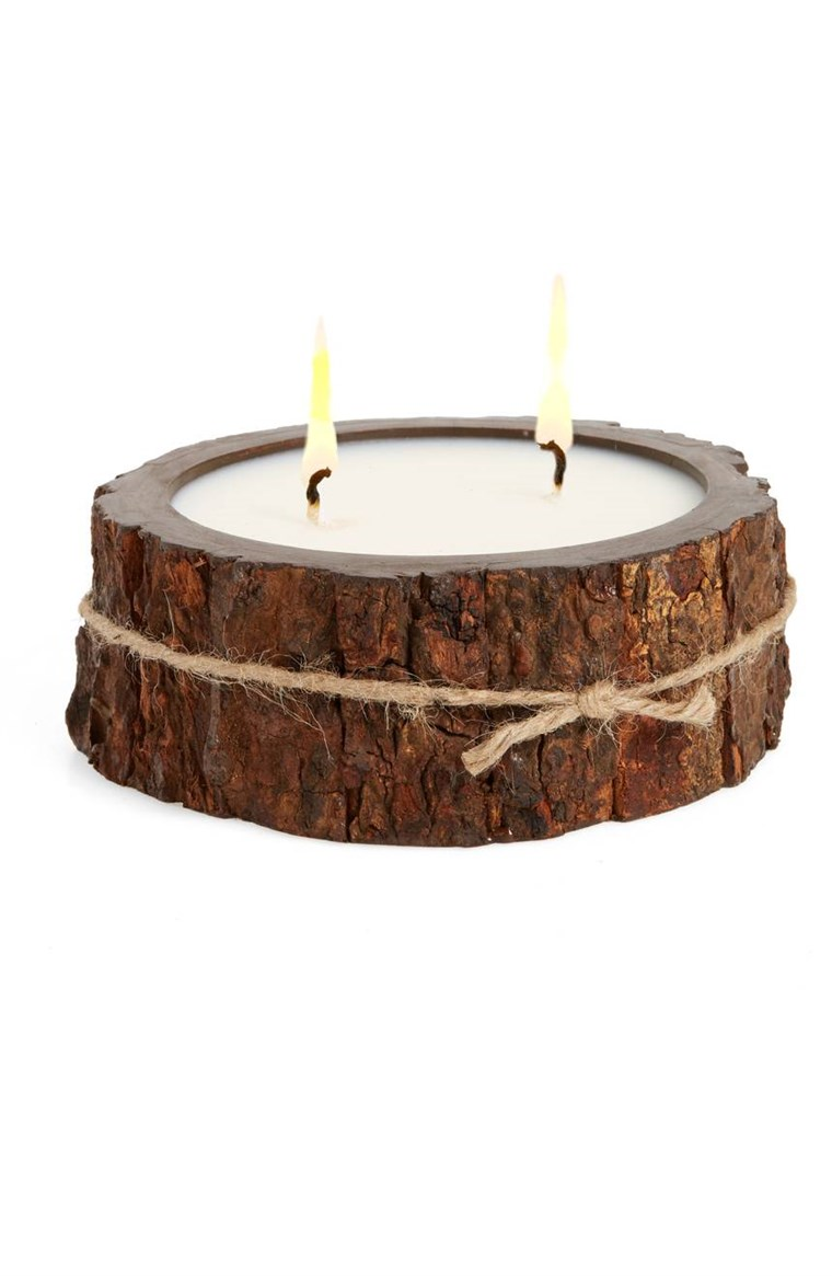Himalaya Trading Post Double Wick Tree Bark Candle