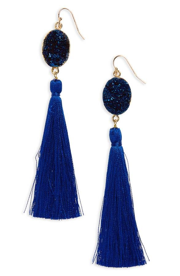 Panaceu Drusy Tassel Earrings