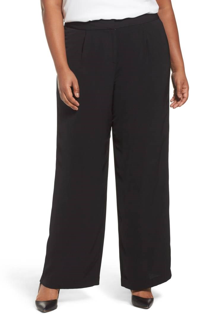 lat legged plus size pants in black
