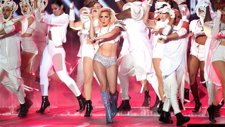 Muzician Lady Gaga performs during the Super Bowl LI Halftime Show