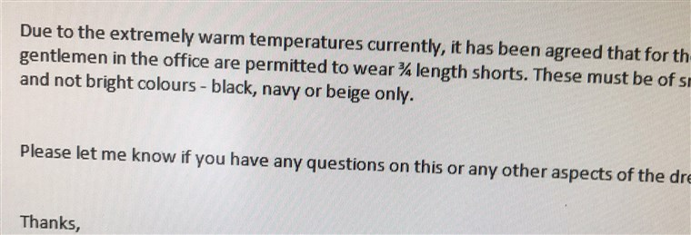 Барге tweeted this photo of an email from his company, amending its 'no shorts' rule for men at the office.