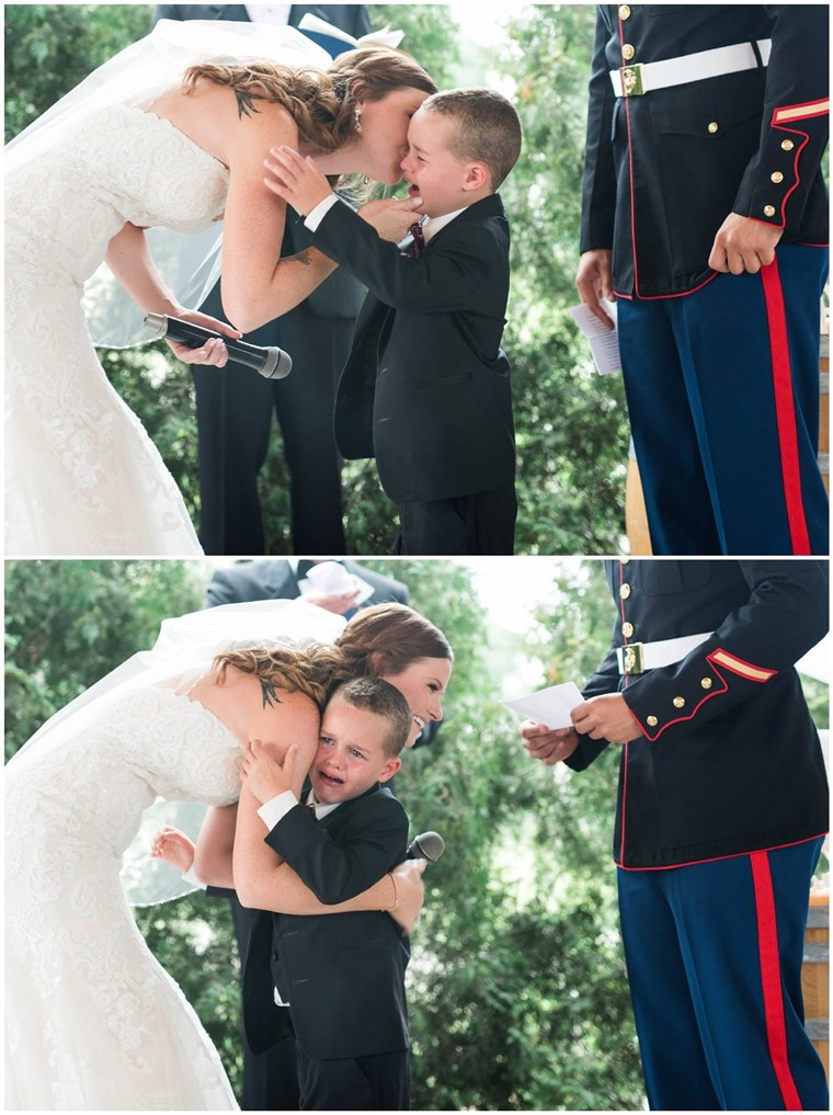 U.S. Marine Corps Sergeant Joshua Newville and Senior Airman Emily Leehan got married on Saturday in upstate New York. Newville's son, Gage, became overwhelmed with emotion at the ceremony.