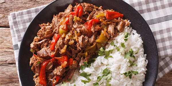 Ropa Vieja (Pulled Flank Steak in Red Wine Sauce)