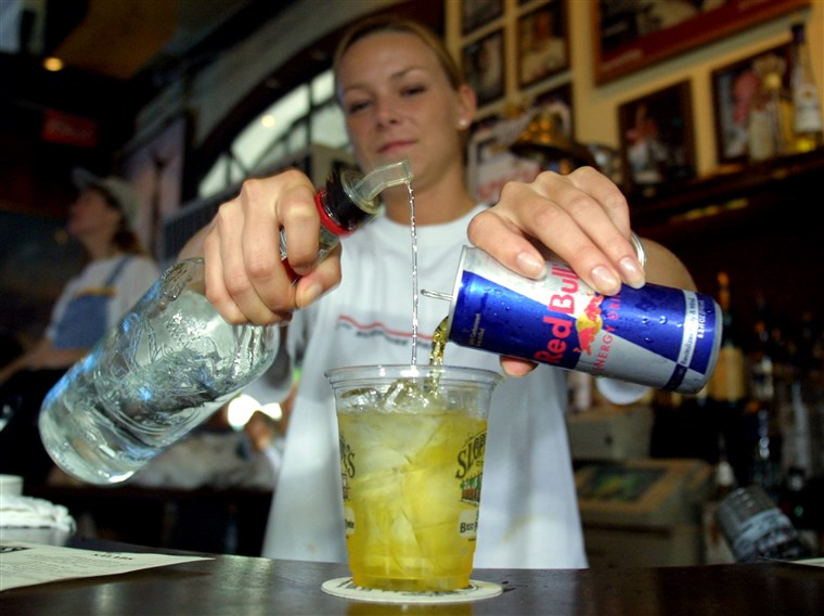 392.259 02: Sloppy Joe''s Bar Tender Crystal Petersen mixes a Red Bull energy drink with vodka July 22, 2001 in Key West, FL. The popular energy drink ...