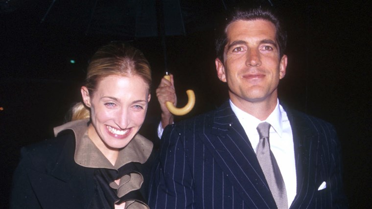 Jonas Kennedy Jr. and his wife Carolyn Bessette arrive at the US Customs House in New York city May 19, 1999 for the Newman's Own/George Awards honoring...