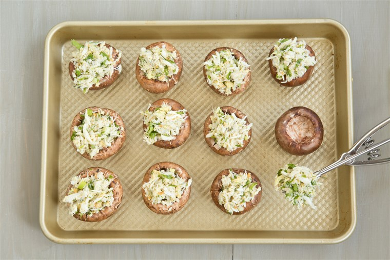 A healthy version of Outback Steakhouse's Crab Stuffed Mushrooms