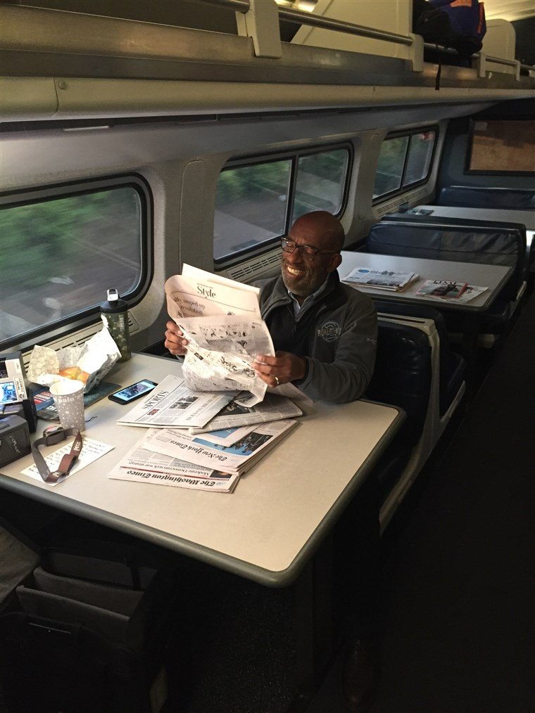 Al Roker takes the Amtrak on his way to the world record