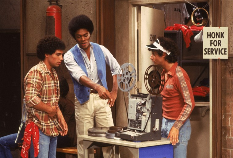 Рон Palillo, right, with co-stars Robert Hegyes and Lawrence Hilton-Jacobs in an episode of