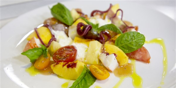 heirloom Tomato, Lobster, Peach and Stracciatella Salad