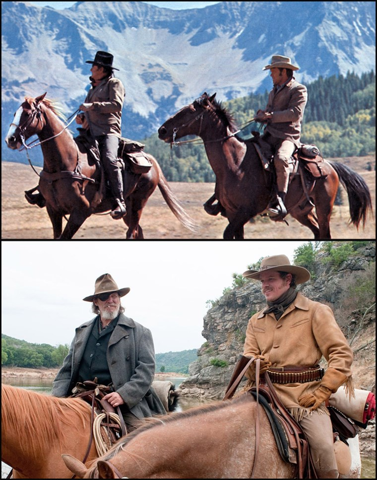 (Topp, L-R) Marshall Reuben J. 'Rooster' Cogburn, played by John Wayne and La Boeuf played by Glen Campbell in the 1969 movie, 'True Grit.