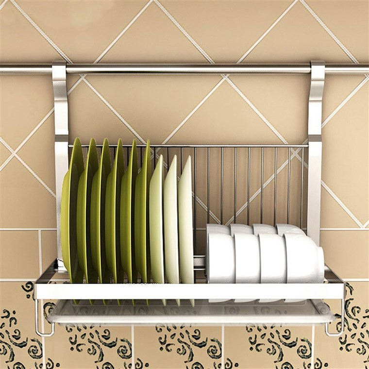 А hanging dish drying rack can be a great solution for a kitchen with limited counter space.
