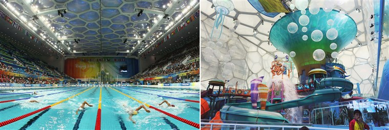 Pekinas's Water Cube in action during the 2008 Games (left) and as it is now, re-imagined as a water park.