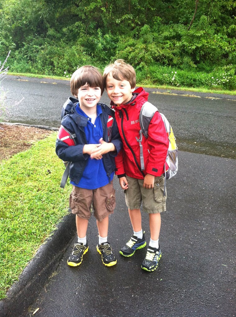Primul day of school for the Hockley brothers in 2012
